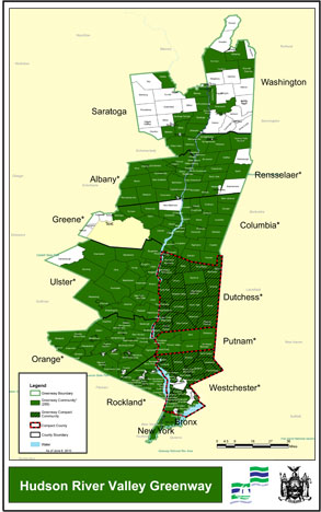 Hudson River Valley Greenways communities map