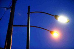 LED lights on a light post