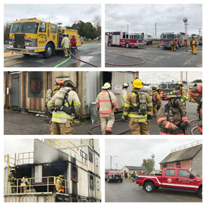 group of photos showing firefighters in action