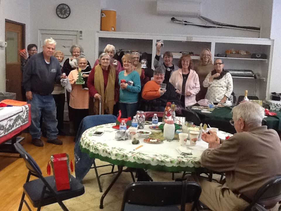 group of senior gather for the holidays