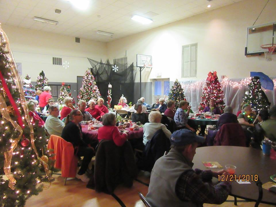 senior citizen gather for a holiday party