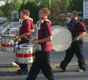 marching band walking by