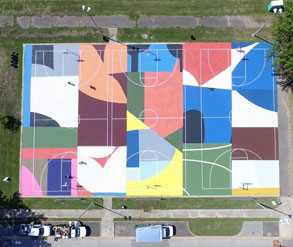 multicolored basketball court