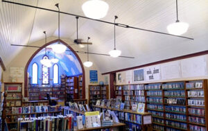 inside public library with many book shelves
