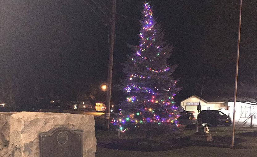 village christmas tree lit
