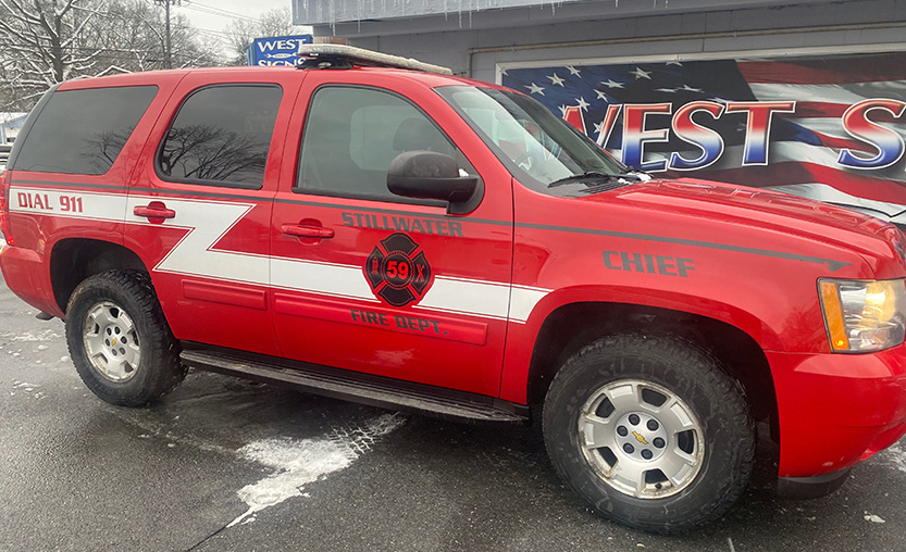 red fire vehicle side view
